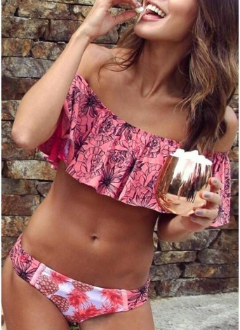 Women Bikini Set Off the Shoulder Ruffles Floral Print Padded