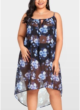 Женщины шикарный шифон цветочные бикини обложка Прозрачный асимметричный Beachwear мини платье