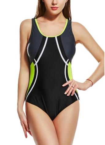 Women Sporty One Piece Swimsuit  Racer Back Contrast Splicing Padded Swimwear Playsuit