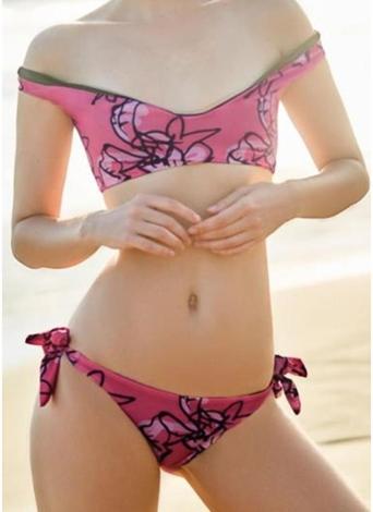 Bikini da donna Set a righe imbottito Top con lacci Bottoms Swimwear Costume da bagno Costumi da bagno