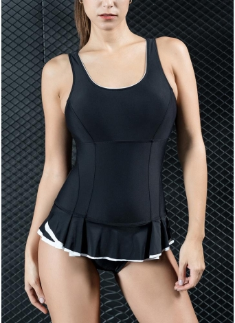 Bañador de mujer de una pieza Traje de baño deportivo Mini falda con volantes Hem Monokini