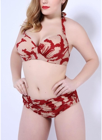 Stampa Bikini Push Up Halter Back Tie Backless Mid Mezzo