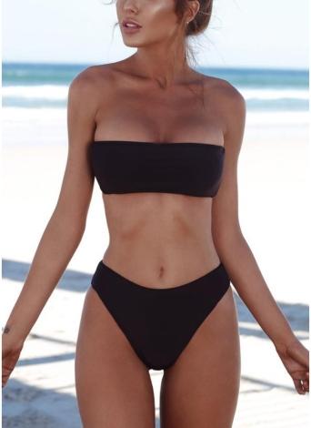 Women High Waist Bikini Set  Push Up Swimsuit Swimwear Solid Bathing Suit