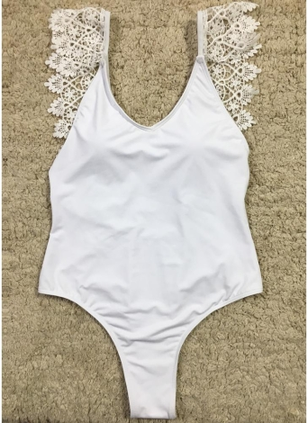 Mulheres Halter Solid One Piece Swimsuit Crochet Monokini Thong Swimwear