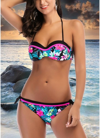 Floral Halter Backless Push Up Padded Bandage Bikini Set