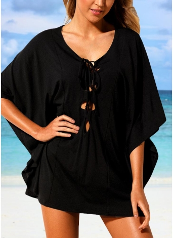 Women Beach Cover Up Lace Up Kaftan Swimwear Beachwear Loose Bikini Dress