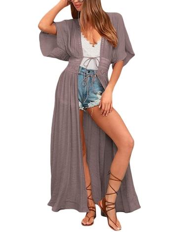 Costume da bagno bikini a tunica con maniche lunghe e fascia in pizzo