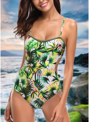 Women One Piece Swimsuit Swimwear Leaf Print Cut Out Bandage Bathing Suit
