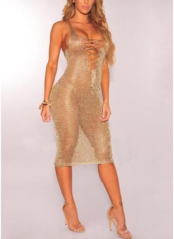Sheer Knit Lace Up Deep V Neck Sleeveless Sexy Women Dress