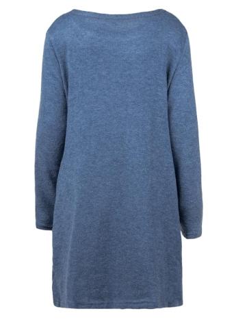 Femmes lâche pull en tricot robe manches longues poches parti robe droite