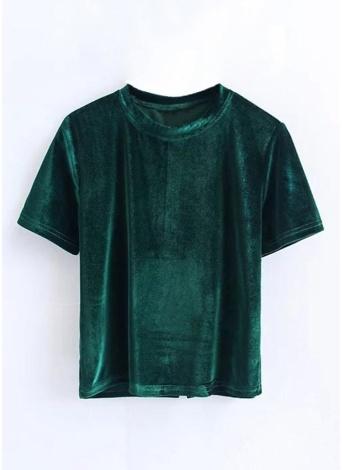 Summer Velvet Crop Tops Women T Shirt Fashion Back Slit  Top Tees