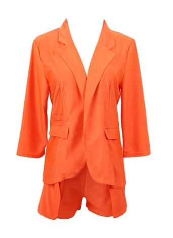 Dos de las mujeres de moda nuevo Set 3/4 manga abierta Blazer chaqueta Hot Pants cortos OL delgado traje naranja rosa