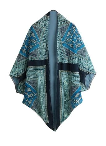 Vintage Bohemian Geometric Print Chiffon Cape Kimono