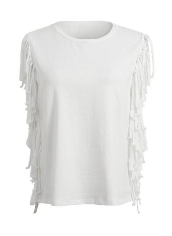 Nouveau mode femme T-shirt Tassel franges O cou sans manches solides réguliers Fit Tops Casual Tee blanc