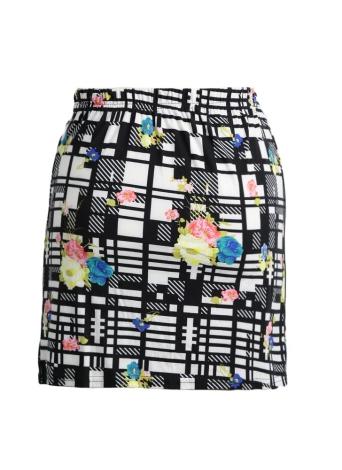 Stylish Floral Geometric Print Color Block High Elastic Waist Mini Skirt
