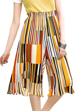 Chic Contrast Color Stripe Pleated Chiffon Capris Cropped Wide Leg Pants