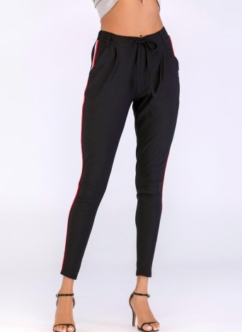 Pantalon à rayures latérales à la mode pour femmes Pantalon à taille élastique à grande taille et élastique