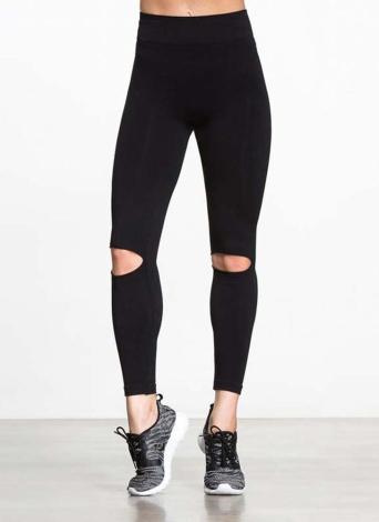 Sexy Frauen Yoga Hosen Sport Leggings aushöhlen Design Workout Laufen Skinny Slim Fitness Strumpfhosen Schwarz
