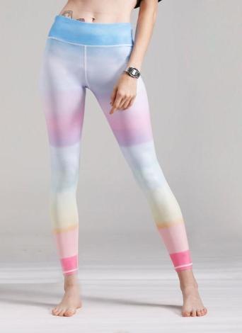 Women Gym Leggings Colorful Gradient Rainbow Print High Waist Casual Skinny Sport Yoga Pants