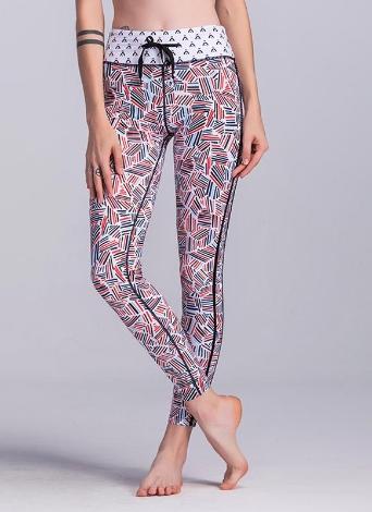 Pantaloni da bodycon da allenamento per la palestra di fitness geometrica a righe colorate a contrasto