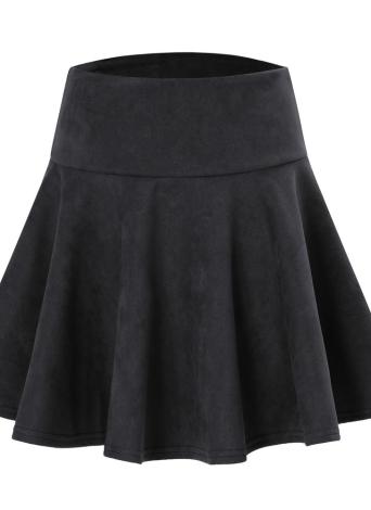 Las mujeres de moda de color sólido de cintura alta una línea corta mini plisada skater falda