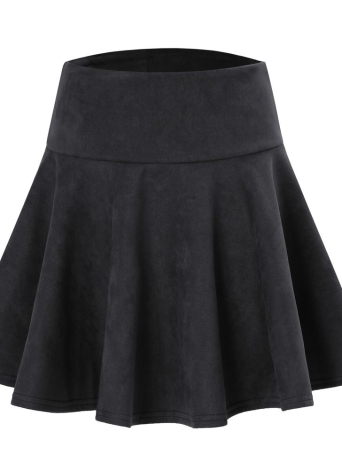 Fashion Women Solid Color High Waist A-Line Short Mini Pleated Skater Skirt