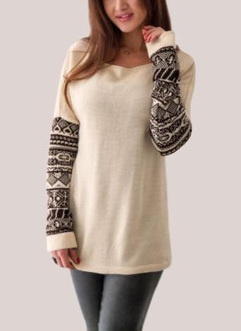 T-shirt à manches longues imprimé géométrique à manches longues pour femmes