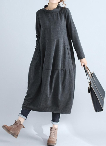 Women Large Size Dress Straight Stand Collar Solid Office Loose Dress