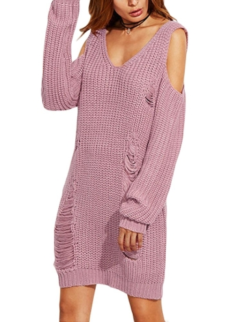 Women Loose Cold Shoulder Destroyed Holes V-Neck Long Sleeve Warm Knitwear