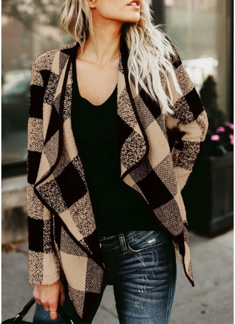 Giacca da donna casual con maniche lunghe in tessuto scozzese