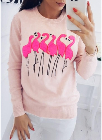 Mode Frauen Stickerei Flamingo O Hals Langarm-Sweatshirt