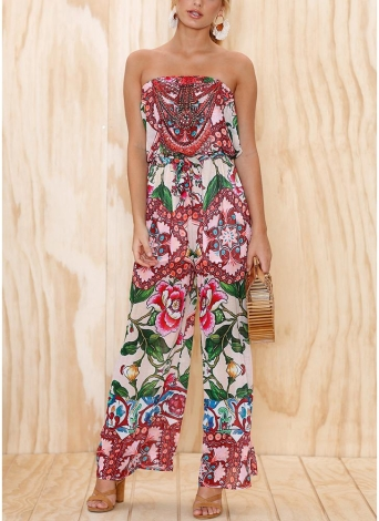 Women Jumpsuit Floral Print Off the Shoulder Rompers Backless Boho Loose Playsuit Pink