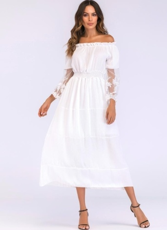 Sexy Women Maxi Long Dress Off the Shoulder Lace Flare Sleeve Elegant  Evening Party Boho Dress 68e78a6c4984