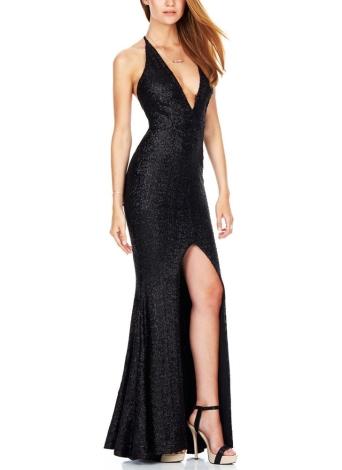Women Sequined Long Backless Dress High Split V-Neck Slim Party Dress