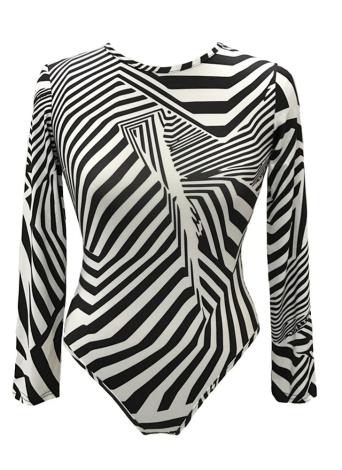 Nouveau Femmes Sexy Bodysuit Chic Print O-Long Neck Collants manches Rompers Bodycon Jumpsuit