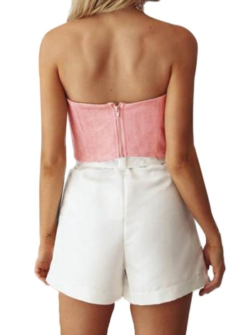 Mulheres Suede Cropped Top Bow Frente Corte Neck mangas Voltar Zipper Cortar Tubo Tops Rosa / Cinza