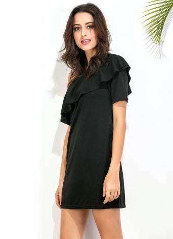 Платье женщин Сплошной цвет One Shulder рябить Overlay Мини Элегантный Party Club платье для коктейля Черный