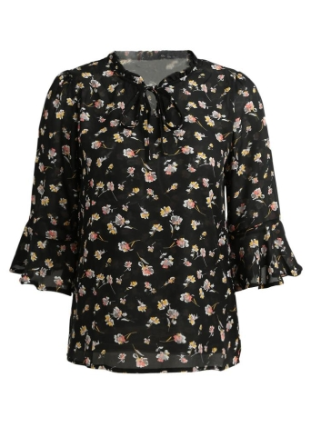 Sexy Flower Print Shirt Tie Bow Front Flare Sleeve Loose Blouse Femme
