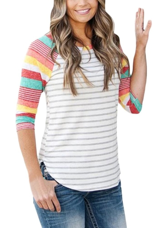 Fashion Floral Print Stripes O-neck 3/4 Sleeves Irregular hem T-shirt Femme