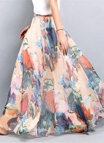 Боховая флористическая майская шифоновая юбка
