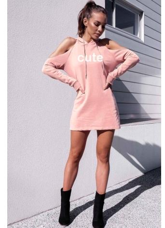 Casual Off Shoulder Hooded Dress Long Sleeve Hoodie Sweatshirt Dress