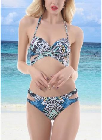 Bikini da bagno da spiaggia con balze e stampa tribale