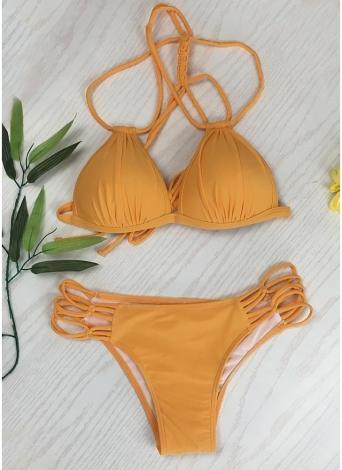 Frauen Solid Triangle Schnürbandage Strappy Gepolsterte Rückenfreie Bikini-Set