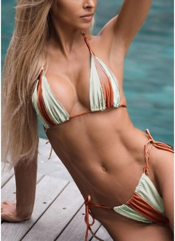Sexy Women Bikini Set Contraste Color Block Bandage Strappy Halter Top Thong Two-Piece Swimwear Beach Swimsuit Bathing Suit