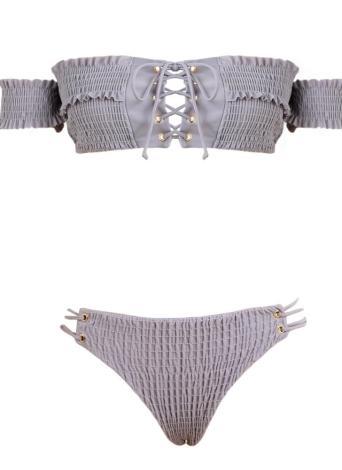 Sexy Frauen Smocked weg von der Schulter Lace Up Bikini Set