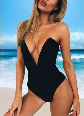 Sexy Femmes Une Pièce Bikini Monokini Maillots de Bain Profonde V-Cou Dos Nu Solide Maillots De Bain Plage Porter