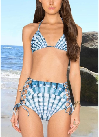 Women Two Piece Bikini Set Halter Plaid Print Padded Bandage Criss Over High Waist Sexy Bathing Suit
