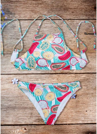 Costume da bagno donna con stampa di frutta e bikini, costume intero imbottito in due pezzi