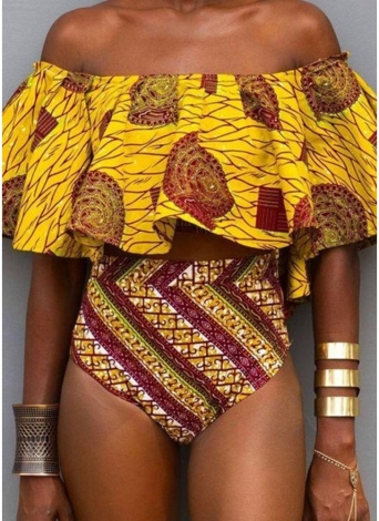 Off the Shoulder Tribal Print Ruffle High Waist Bikini Set