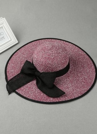 Cappello per il sole di modo delle donne Cappello di paglia Solid Tesa larga con laccetti cappello di estate Sunbonnet Beach Panama